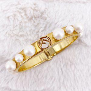 Fendi Logo Bead Embellished 2-Tone Bracelet~S